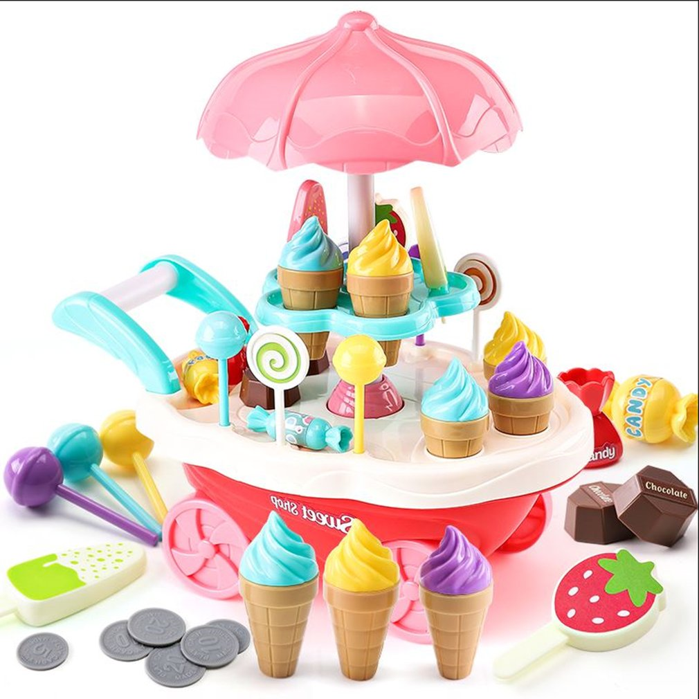 OCDAY Rotary Lights Ice Cream Candy Cart Toy Educational Toy for Kids Best gift for children kids child pretend play toys ice cream cart toy