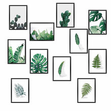 Watercolor Plant Green Leaves Canvas Painting Art Print Poster Picture Wall Modern Minimalist Bedroom Living Room Decoration(China)