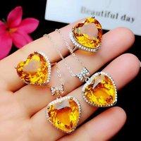 shilovem 925 sterling silver Piezoelectric citrine Rings pendants send necklace Jewelry women trendy wedding open ltz1515agj