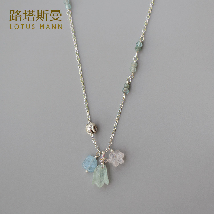 Lotus Mann necklace sea flower pendant with apatite 925 silver necklace 925 silver plated flower necklace