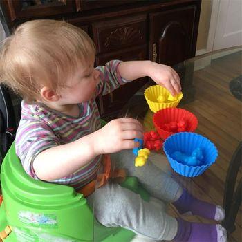 1 conjunto Contando Ursos Com Copos De Empilhamento - Jogo De Correspondência Arco-íris Montessori, Brinquedos Educativos De Classificação De Cor Para Crianças Bebê 1