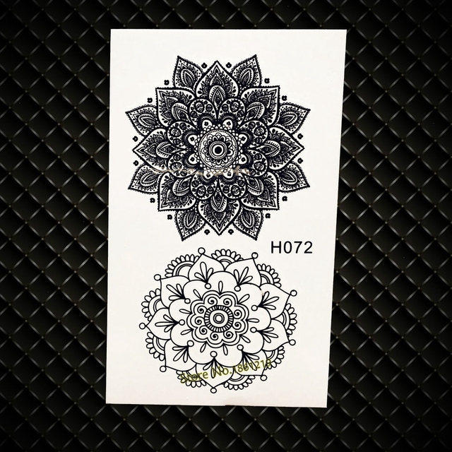 Indian Sunflower Totem Water Transfer Temporary Tattoo Henna Flower Tattoo Paste GH072 Fake Flash Black Tattoo Jewelry Sticker