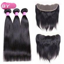 Перуанские прямые волосы 3 Связки с 13×4 Накладные пряди на кружеве для передней части головы-Волосы Remy связки для волос салон Расширение