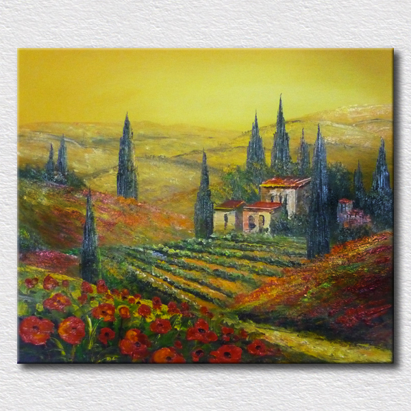 Painted canvas wall art natural scenery village oil ...