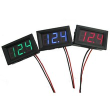 New 1 Pieces Red Green Blue 2 Wires Universal Mini DC 4.0/4.5/4.7~30V LED Panel Voltage Meter Digital LED Display Voltmeter