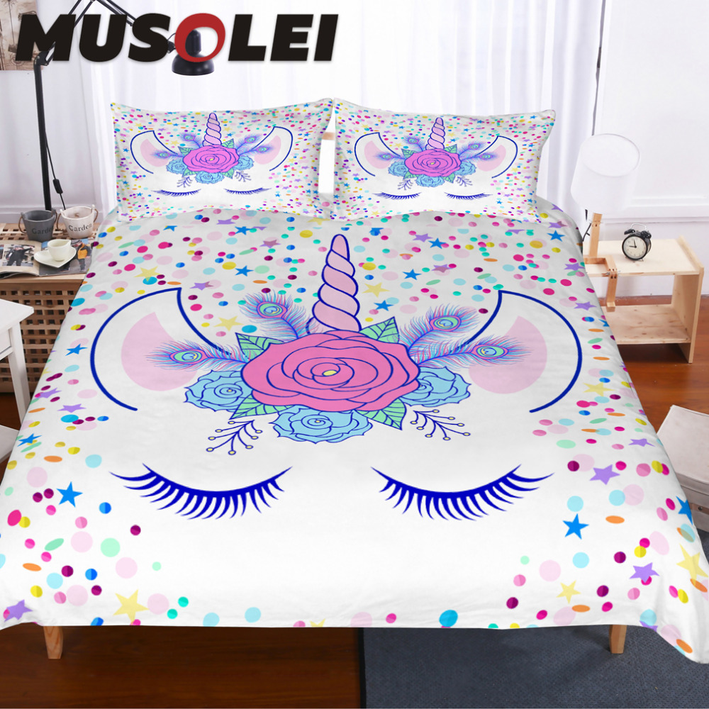 MUSOLEI Head of hand drawn unicorn with floral wreath with confetti Bedding set,Illustration Duvet cover set Home Textiles 3pc