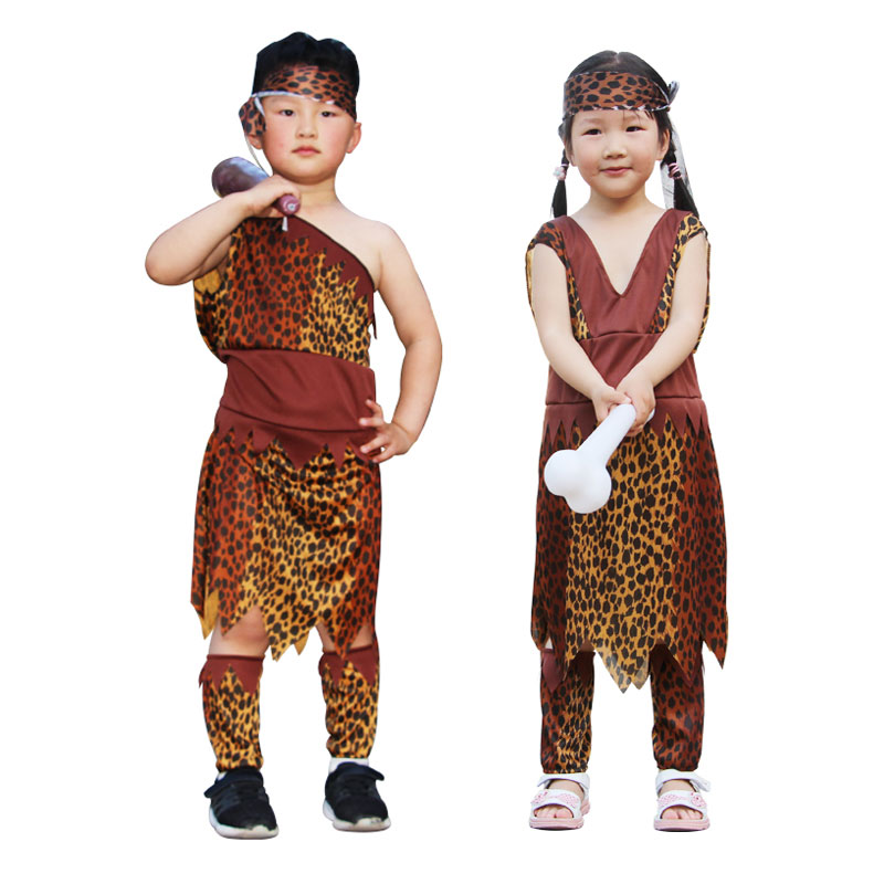 Umorden Kids Boy Girl Indian Native Cosplay Macho Caveman Primitive Africa Savage Costume Leopard Halloween Costumes Party Dress
