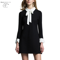 ElaCentelha Women Summer Autumn Dress 2016 Black And White Stitching Bow Cultivate One S Morality Dress