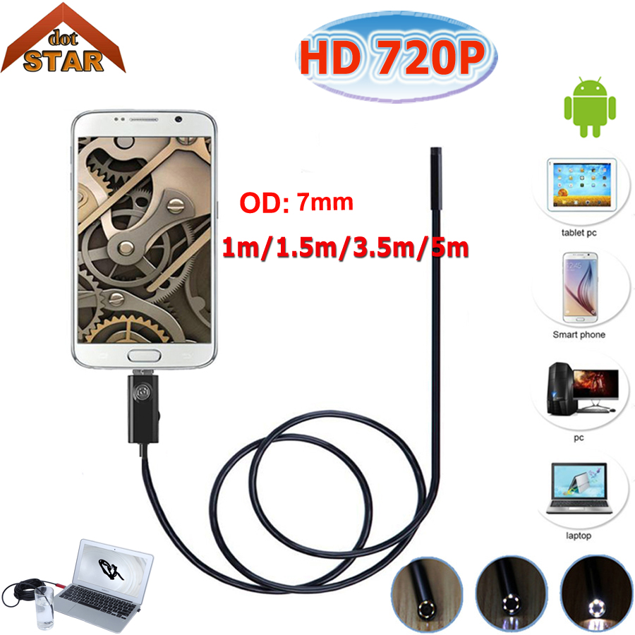 USB Endoscope Android Camera 7mm 1M/2M/3.5M/5M Stardot Snake Tube Pipe Waterproof Phone PC Inspection Borescope Mini Camera stardot usb endoscope android mini camera 7mm lens ip67 waterproof inspection borescope camera flexible snake tube endoskop