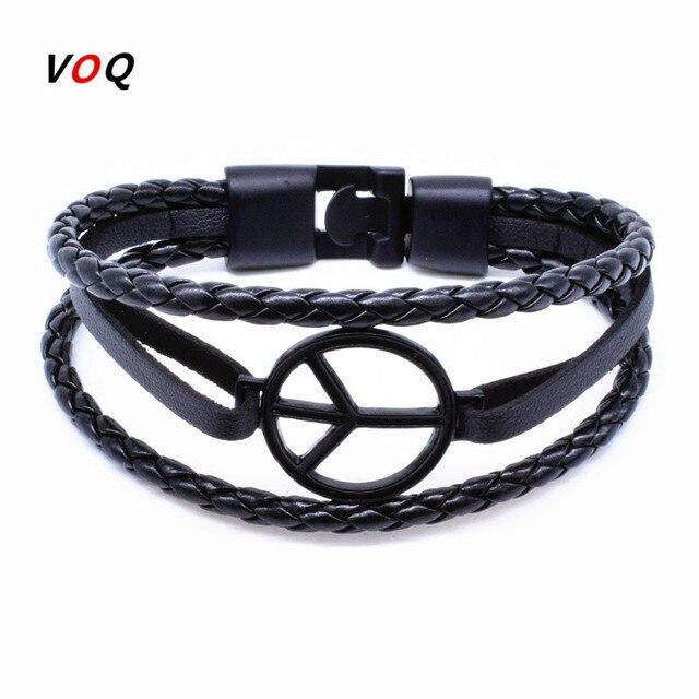 2017 New Arrival Peace Bracelet Hand Woven Leather Men Women Friendship Bracelets Bangles