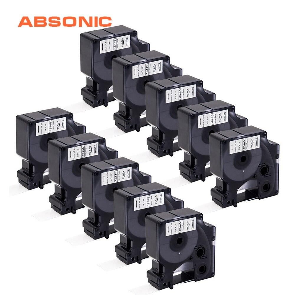 Absonic 10 pièces 19mm IND Vinyle Étiquette DYMO Rhino 18445 Noir sur Blanc Bandes D'étiquettes Cartouche Industrielle Pour Rhino 4200 5200 Imprimante