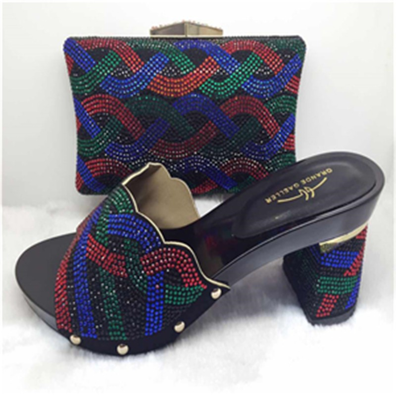 Italy Shoe And Bag Set With Black African Shoe With Bags 5 Colors Italian Shoe With