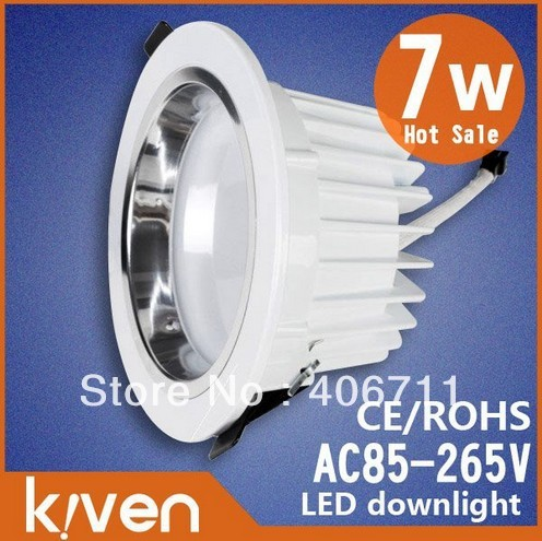 Soft Light 7w led downlight+ Driver 5630 Led chip ,AC85~265V,CE&ROHS,630~650lm,aluminum ,white shell,hight quality,free shipping