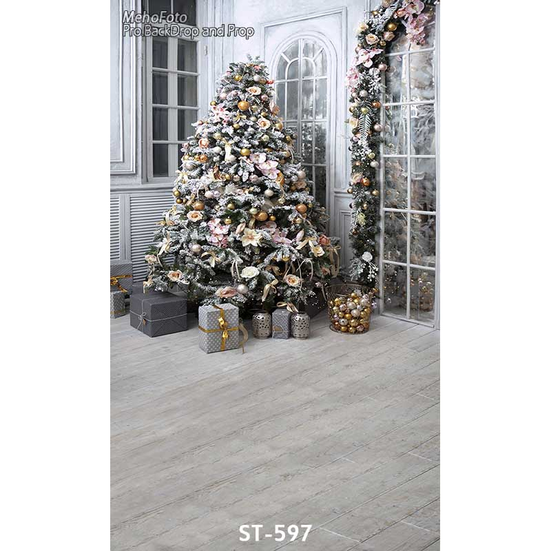 Christmas background vinyl photography backdrops Computer Printed christmas tree for Photo studio ST-597 vinyl photo background for baby studio props wooden floor christmas photography backdrops 5x7ft or 3x5ft jiesdx005
