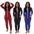 2016 Casual Women One Piece Outfits Jumpsuits Long Sleeve Bodycon Front Zipper Hooded Long Pants Sexy Black/Red Rompers Playsuit