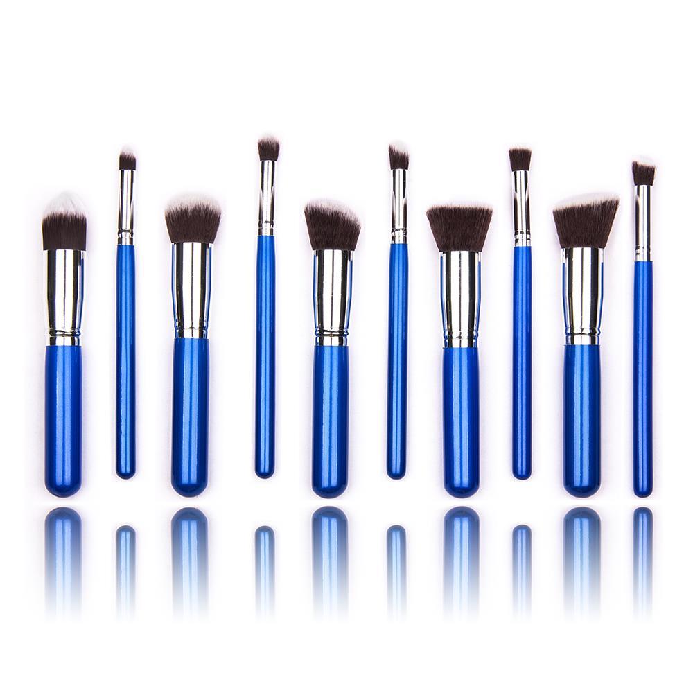 10 pcs silver Synthetic Kabuki Makeup Brush Set Cosmetics Foundation blending blush makeup tool free shipping