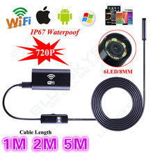 El envío gratuito! 6LED HD 720 P 1 M/2 M/5 M WiFi Cámara de Inspección Endoscopio Impermeable para ios y Android PC