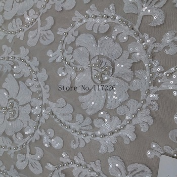 pretty flower embroidered tulle lace fabric with beads and sequins flowers tulle net material JRB-29208 for party dress
