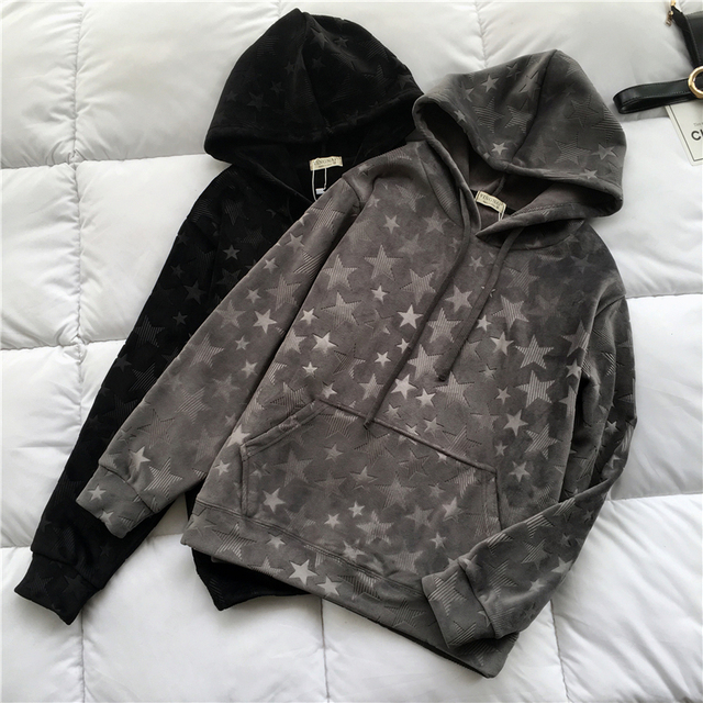 New Autumn Winter Casual Warm Thick Velour Sweatshirt Women Vintage Embossing Pullovers Coat Geometric Hoodies Hooded Tops Mw465