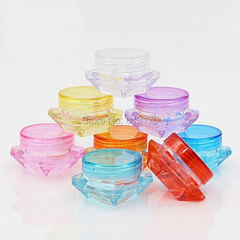 Cosmetic Packing Container Cream Jar Sample Tins 100pcs 3g,5g 5ml Empty Diamond Shape Colourful Mini Small Free Shipping
