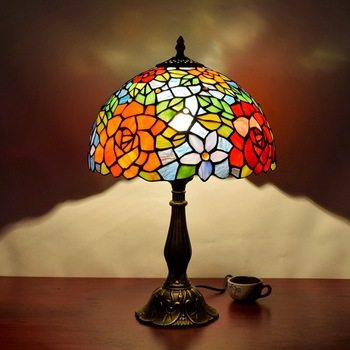 Lüks atmosfer Amerikan Avrupa retro renk cam gül lüks yatak odası başucu lambası dekorasyon lambası