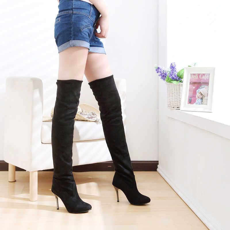 2019 nouvelles femmes bottes mince cuissardes bottes mode sur le genou bottes femme hiver talons hauts chaussures femme hiver chaussures taille 43
