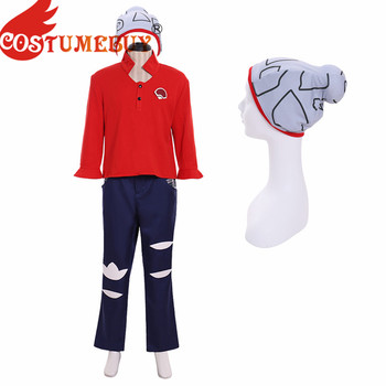 Costumebuy Pokemon Sword And Pokemon Shield Male Trainer Brown Outfits Full Outfits With Hat Halloween Party Custom Made