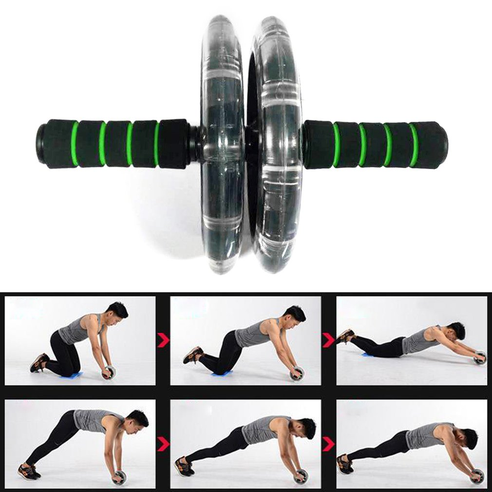200mm Double-wheeled Muscle Trainer Abdominal Wheel Noiseless Body Builder Gym Tool Fitness Equipment Exercise Accessories