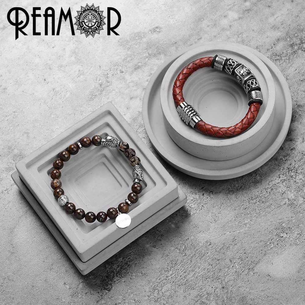 REAMOR ヴィンテージ赤本革男性チャームブレスレット 316l ステンレス鋼仏頭バングル男性のファッションジュエリー