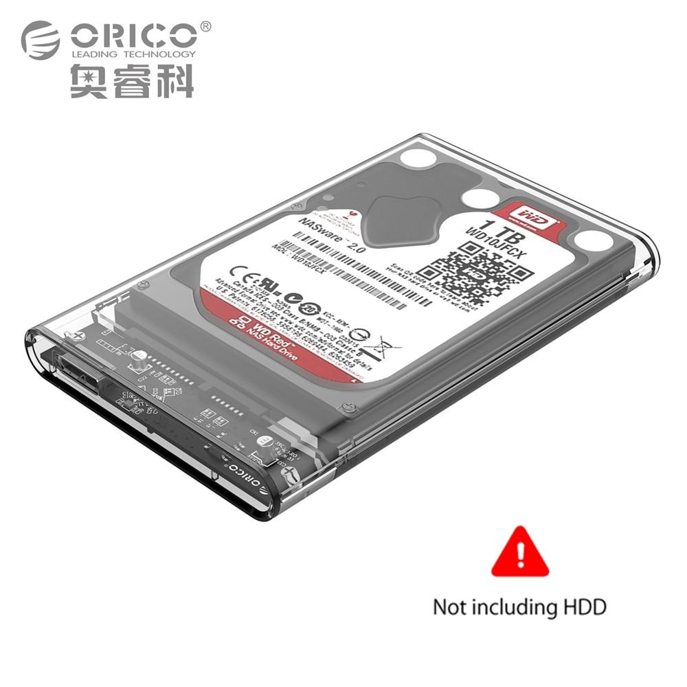 25 Inch Transparent Usb30 To Sata 30 Hdd Case Tool Free 5 Gbps Orico 2577u3 Hard Drive Enclosure 2tb Mobile Usb External