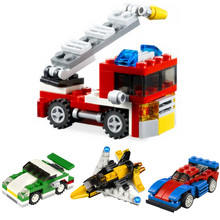 DECOOL Creator 3 in 1 Mini Fire Sports Car Aircraft Sets Building Blocks Bricks Kids Classic City Model Toys decool 2 in 1 technic creator city customized pick up truck building blocks bricks car model kids toys gifts compatible legoings