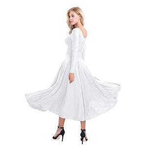 Image 5 - חדש נשים ארוך שרוול מקצועי בלרינה שלב בלט טוטו ריקוד ארוך שמלת Loose Fit עכשווי לירי ריקוד תלבושות