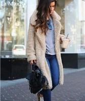 Women Faux Fur Teddy Coat Autumn Winter Jacket Overcoat Warm Fluffy Long Lapel Shaggy Plus Size Outwear Cardigan Slim Fur Coats