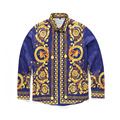 Moda medusa clothing impressão digital cor da mistura de luxo dos homens da marca harajuku camisas casuais longo-medusa camisas dos homens de mangas compridas