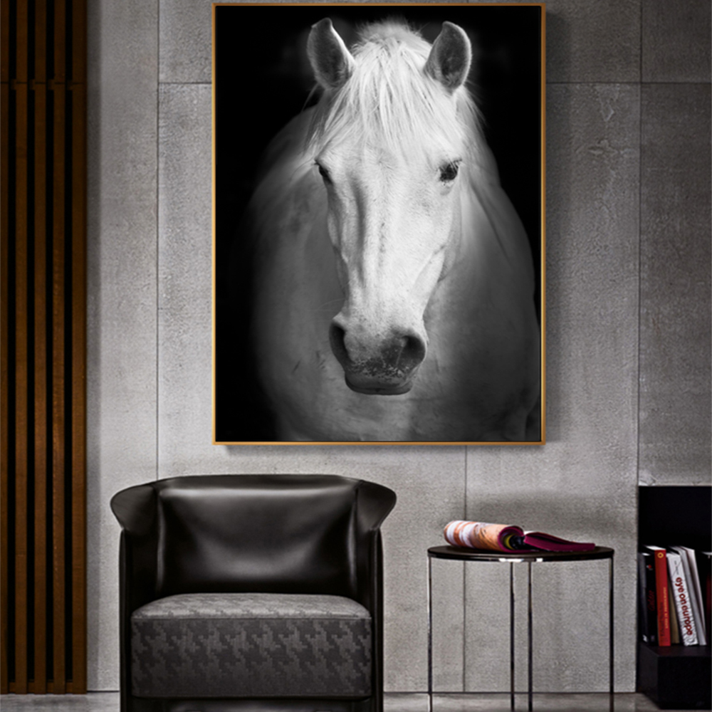 Unframed Canvas Prints White Horse Wall Art Canvas Painting Print Wall Picture For Living Room Wall Art Decoration Dropshipping