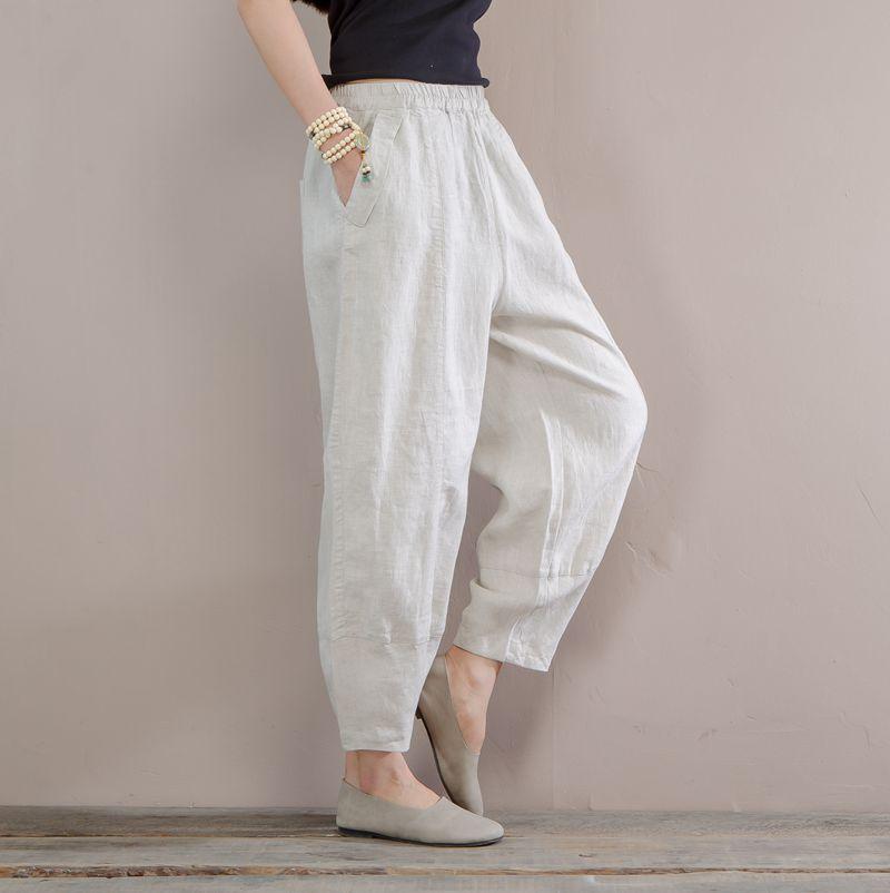 Women Summer Linen Pants Elastic Waist Solid Color beige Pants For Female Casual Ladies Vintage Trousers girl