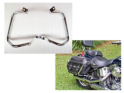 Motorcycle Chrome Rear Saddlebag Guard Crash Bar for Harley HD Softail FLST FLSTC FXST FXSTB FXSTS