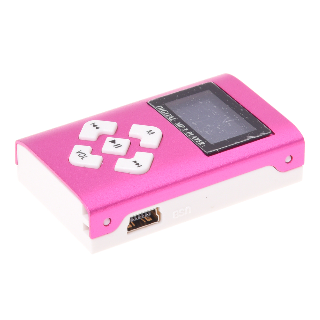 USB LCD Screen Mini MP3 Player 32GB Micro SD TF (Rose Red)
