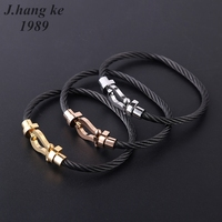 J K New Couple Stainless Steel Open Cable Wire Bangles Bracelets For Womens Men Famous Brand