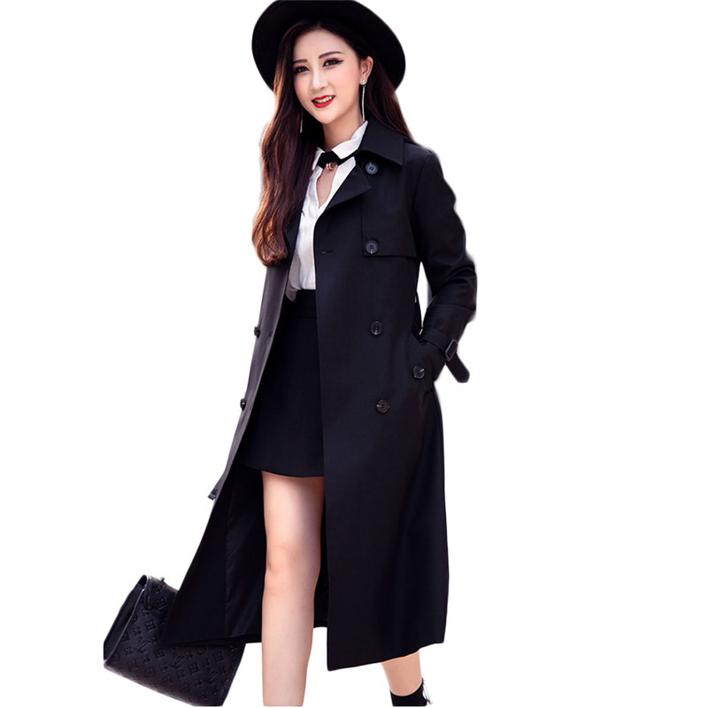 2019 Spring Autumn Women Slim Long   Trench   Coat Elegant Vintage Office Lady Double-Breasted Party Fashion Outerwear Clothing M87