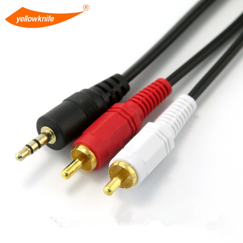 Yellow Knife 5m 3 5 Mm Male Jack To Av 2 Rca Male Stereo