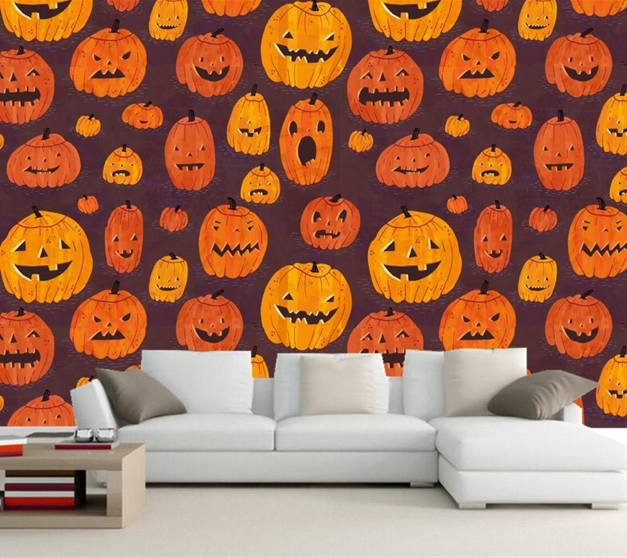 Custom Pumpkin Halloween Texture Wallpaper Restaurant Wallpaper Bar Living Room Sofa Tv Wall Bedroom Kitchen 3d Wall Mural Wall Car Wall Mount Letter Holderwall Murals Sale Aliexpress