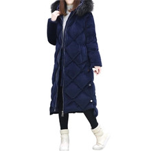 2017 New Winter Women Coat Fashion Large Fur Collar Hooded Gold Velvet Down Cotton Jacket Thick Super Warm Winter Down Coat SK18
