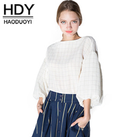 HDY Haoduoyi Fashion Plaid Tops Women Puff Sleeve Female Pullover Tops Preppy Style Sweet Loose O