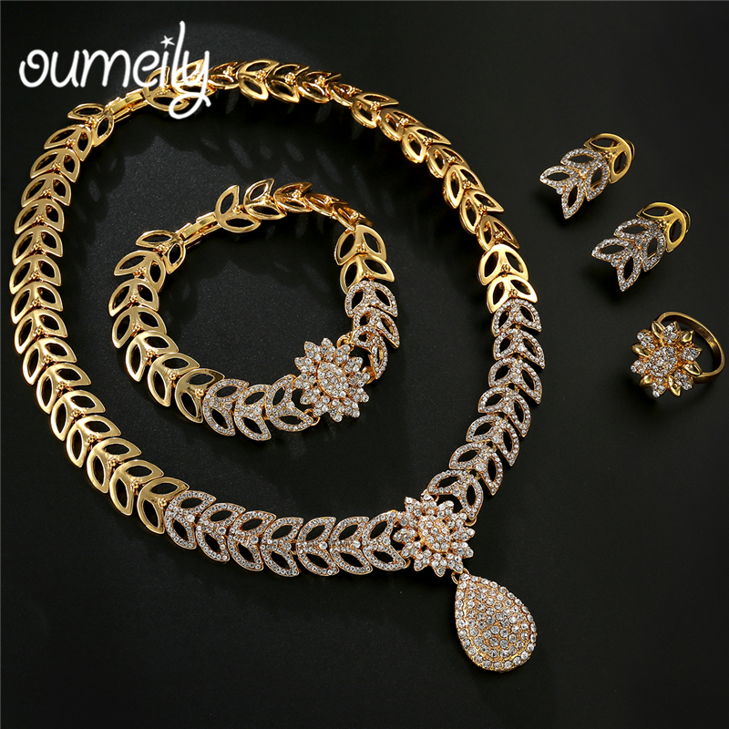OUMEILY Jewelry Set for Women Water Drop Leaf Flower luxury Crystal Bridal Jewellery Set Gold Color African Bead Turkish Jewelry luxury rhinestone bridal necklace earrings set crystal ab color aurora color evening party jewelry set drop water flower style