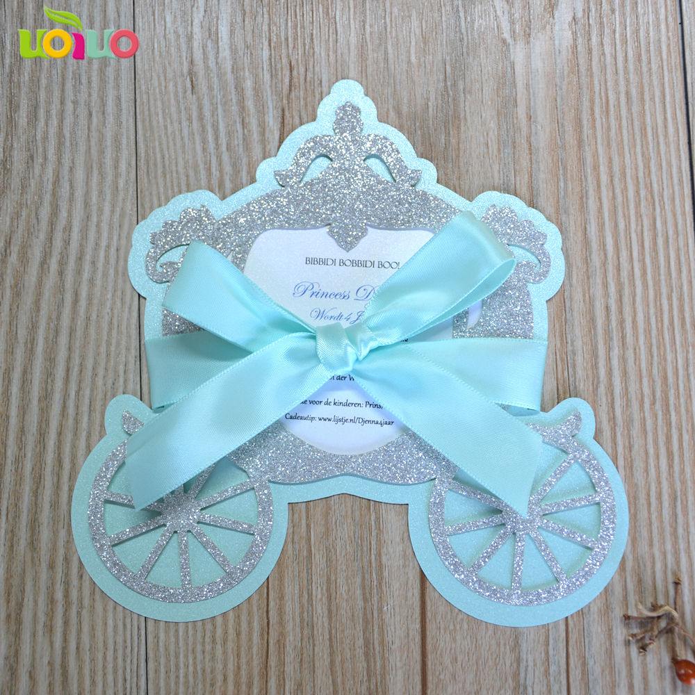 Laser Cutting Luxury Glitter Paper New Born Baby Baptism Invitation Cards Happy Baby Birthday Cards With Printing