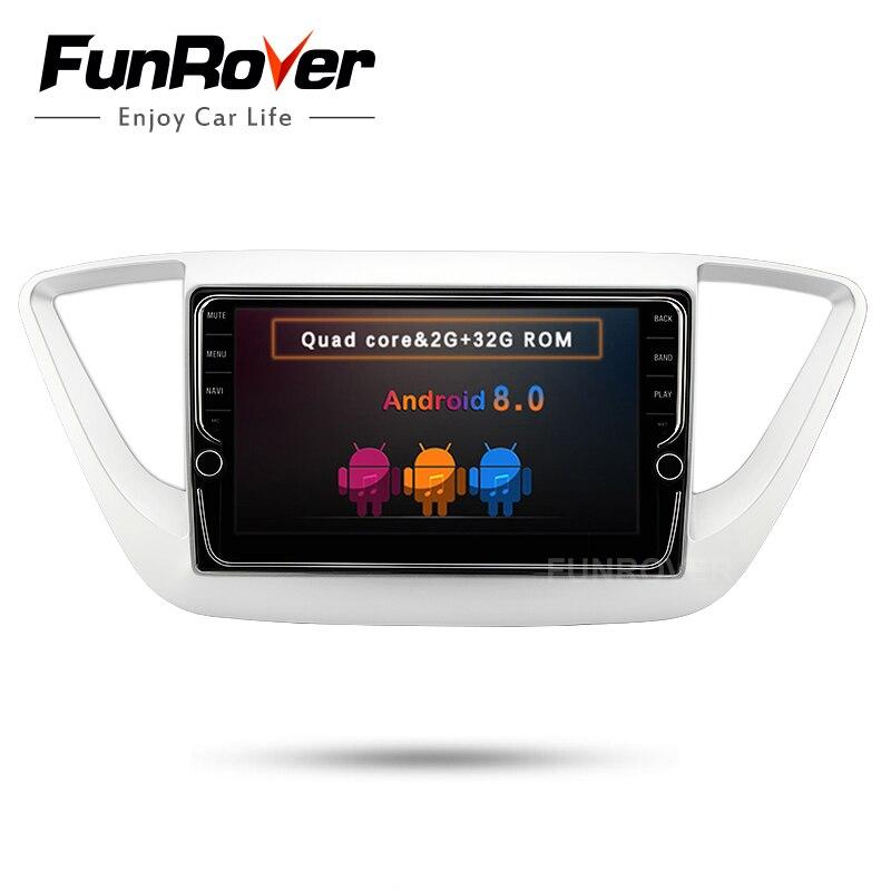 Funrover IPS2 din Android8.0 Voiture DVD GPS multimédia radio Player Pour Hyundai Verna Solaris Accent 2017 2018 gps stéréo tête unité