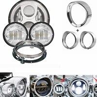 For Harley 7Inch Headlight Trim Ring Visor 4.5 Passing Fog Lamp Trim Ring 7 Bracket For Harley Touring Road King Electra Glide