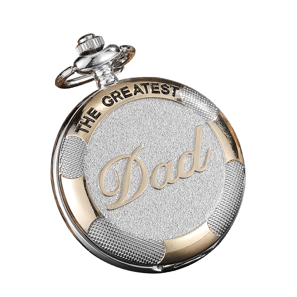 Silver THE Greatest DAD Pocket Watches For Father's Day Gifts Luxury Quartz Fob Watches Chain For Men Hour Relogio De Bolso