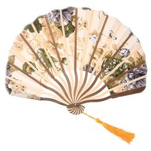 Classic style peony flower fabric bamboo folding dance hand fan beige Summer Vintage Bamboo Folding Hand Held Fan Chinese Dance